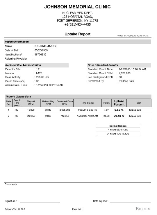 Sample Reports   Thyroid Uptake System  Nuclear Medicine  Biodex