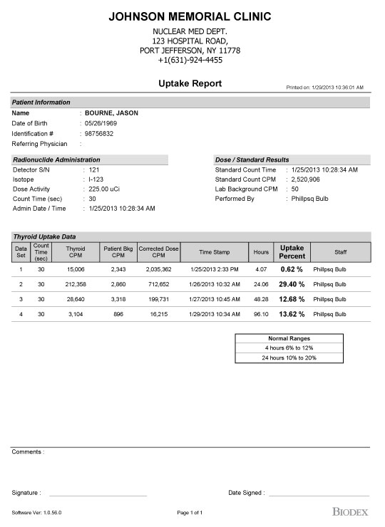 Sample Reports - - Thyroid Uptake System - Nuclear Medicine | Biodex